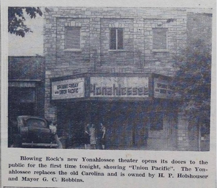 Façade view of the Yonahlossee Theatre in Blowing Rock, NC, ca. 1944.