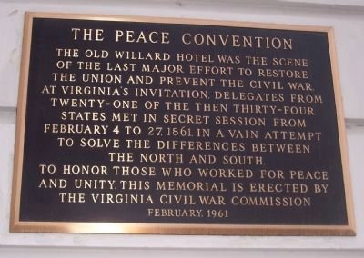 The plaque is located on the Pennsylvania Avenue side of the historic hotel. Photo by Richard E. Miller, March 18, 2008