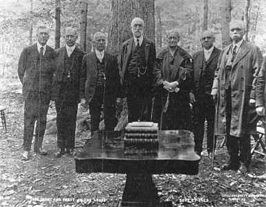 LDS President and Prophet George A. Smith with many of the Apostles in 1920 in the Sacred Grove commemorating the 100th anniversary of The First Vision