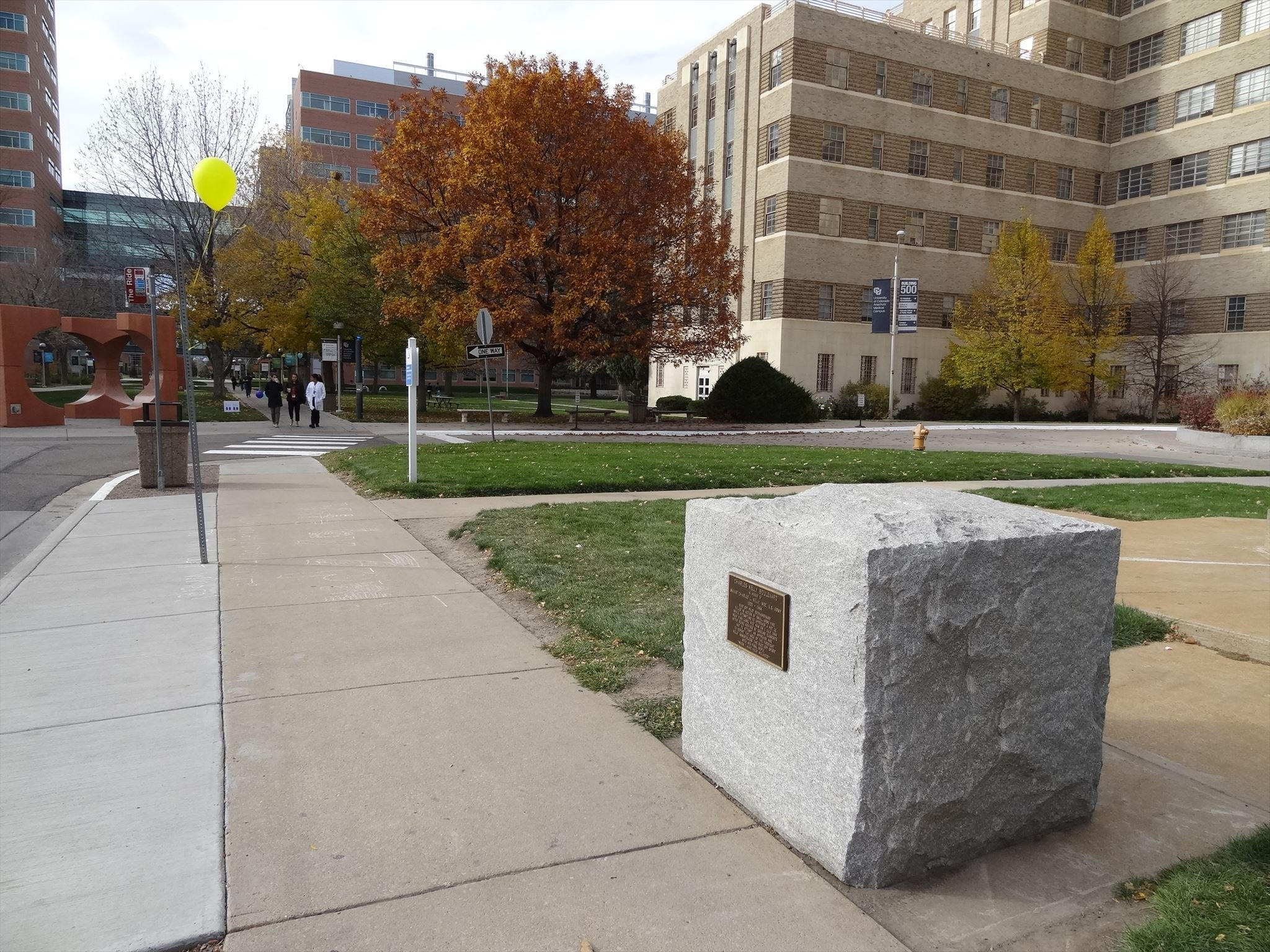 This is where the monument is located ouside of the Fitzsimons army medical Hospital.