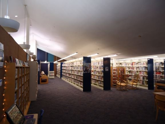 A peek inside of Milton Branch Library.