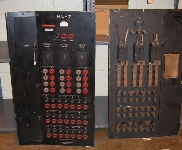 These electrical panels were installed to give researchers better control of electrical equipment in the laboratories.  They allowed for researchers to easily turn on or turn off individual pieces of equipment.