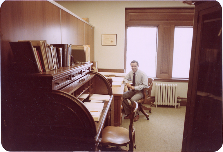 Office in the Grand Army of the Republic Memorial Hall, featuring Dr. Richard Zietlin, former director of the Wisconsin Veterans Museum.