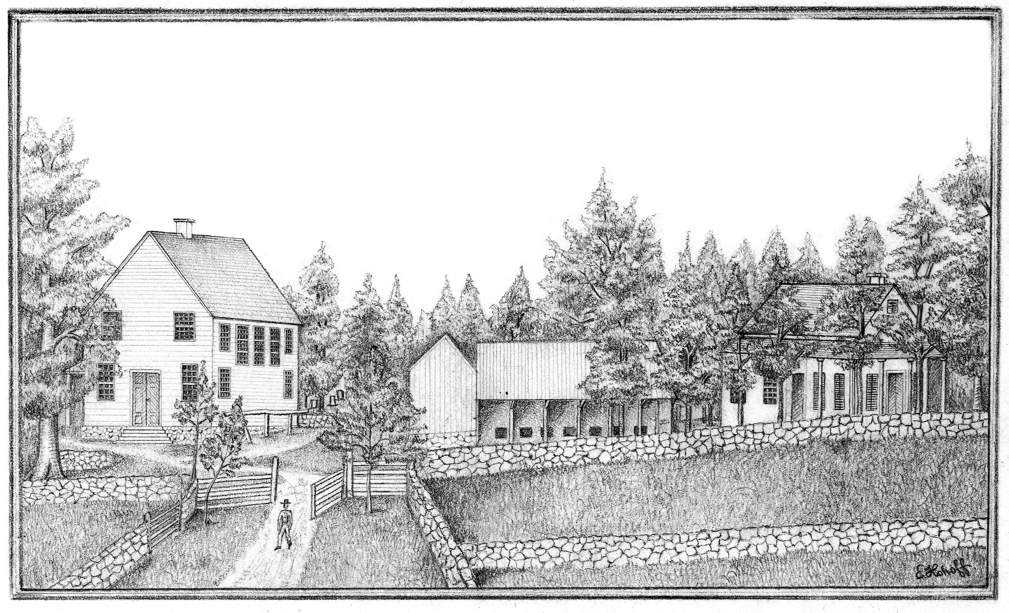 Drawing by E. Hohoff, before 1888. Chappaqua Friends Meeting