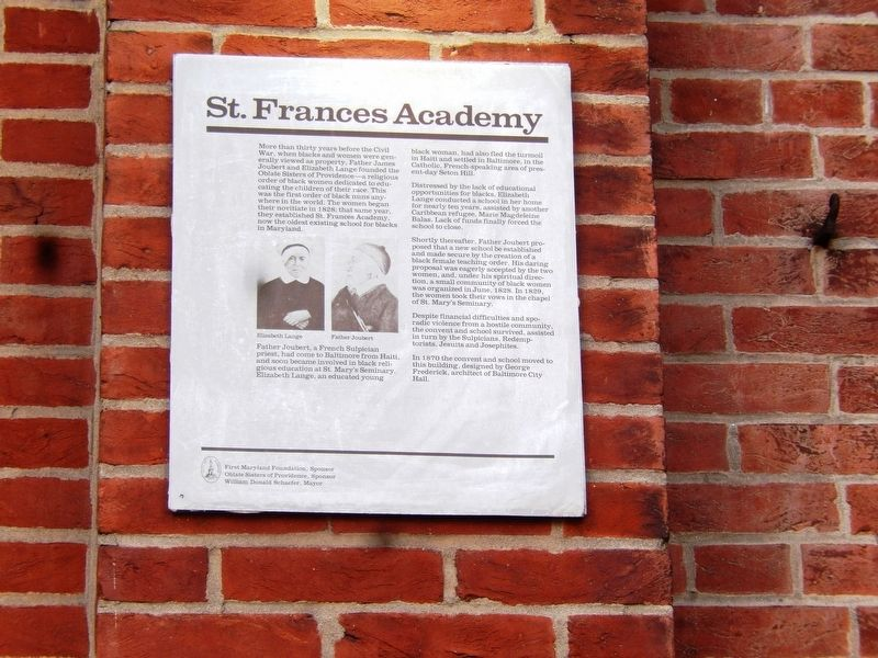 St. Frances Marker describing the history and legacy of the academy (right of front door).