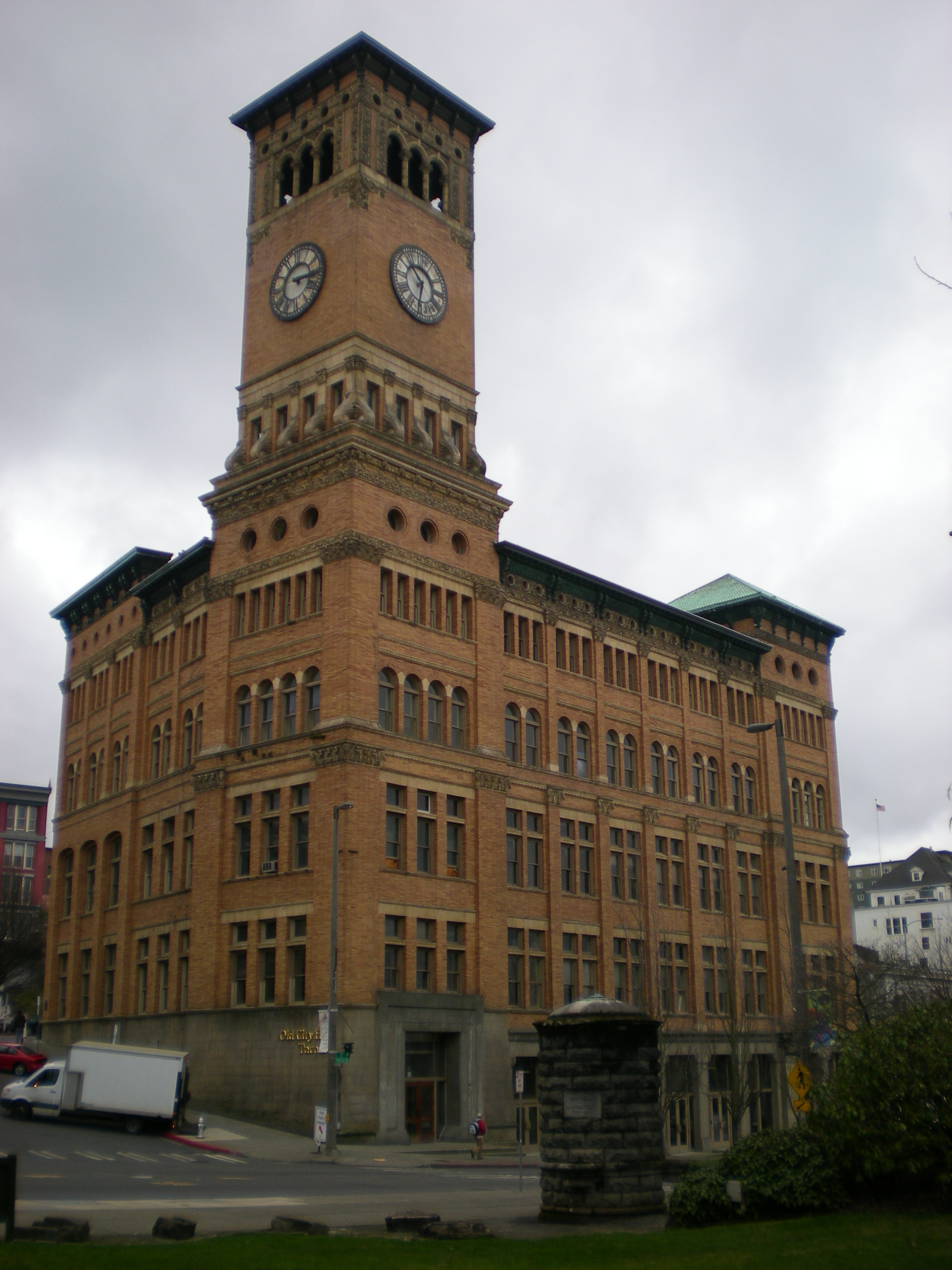 Tacoma's Old City Hall, with its prominent clock and bell tower