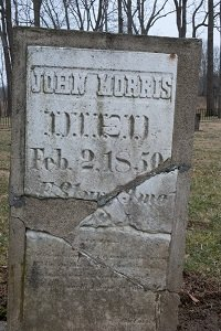 Stone marker for John Morris  Photo credit: Todd A. Stuart