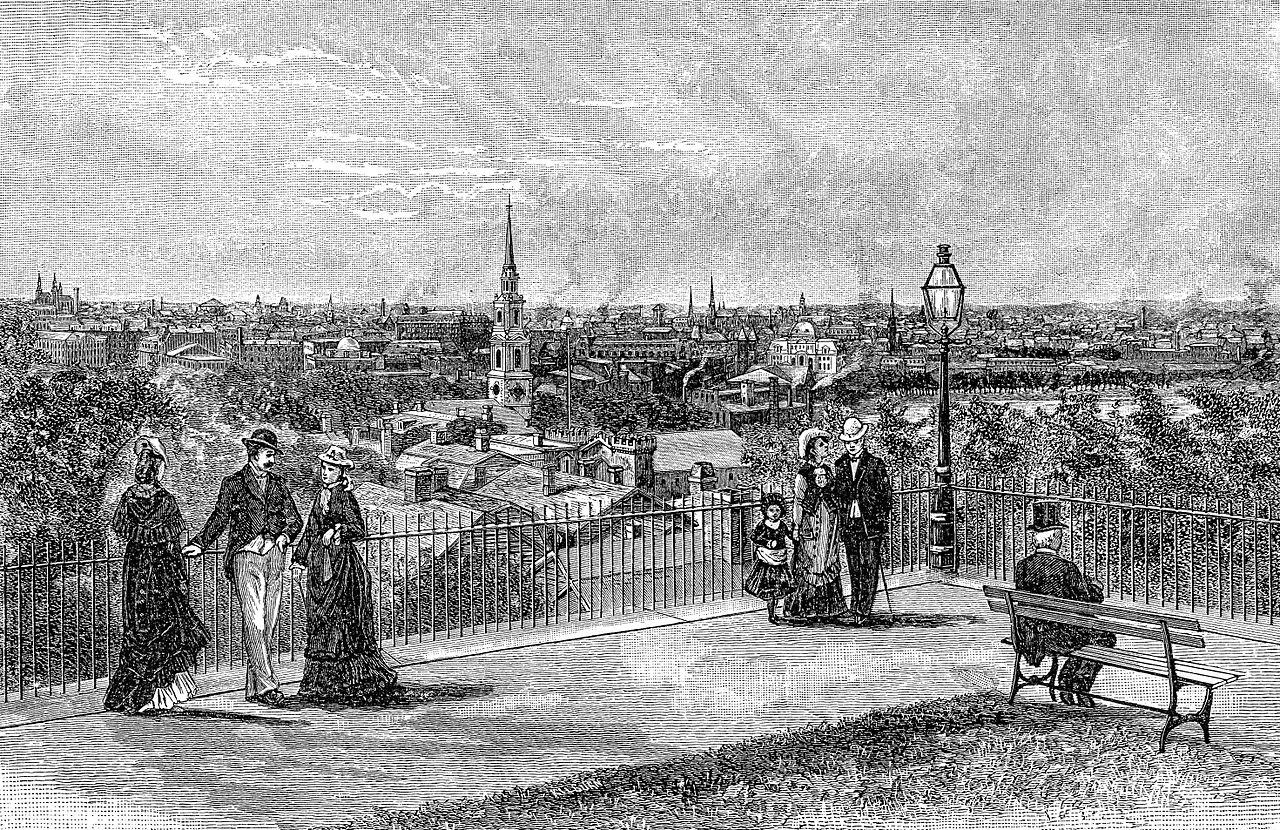 Providence, Rhode Island viewed from Prospect Terrace. Engraving from The Providence Plantations for 250 Years, Welcome Arnold Greene, 1886. page 97