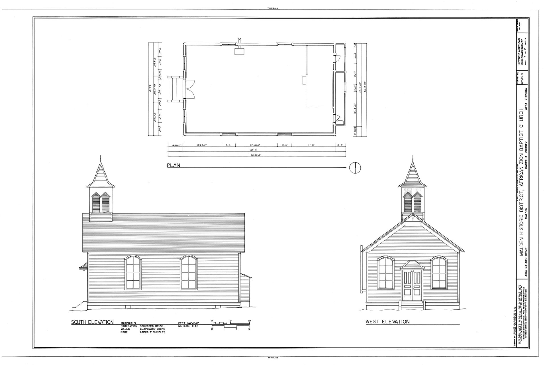 Architectural drawing of the African Zion Baptist Church