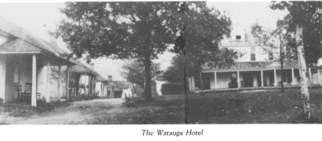 Photo of the cottages as they originally looked and Watuaga Hotel circa late 1890s. (credit: 1888 Museum and Blowing Rock Historical Society)