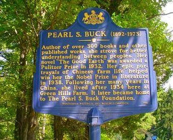 Pearl S. Buck Historic Landmark sign