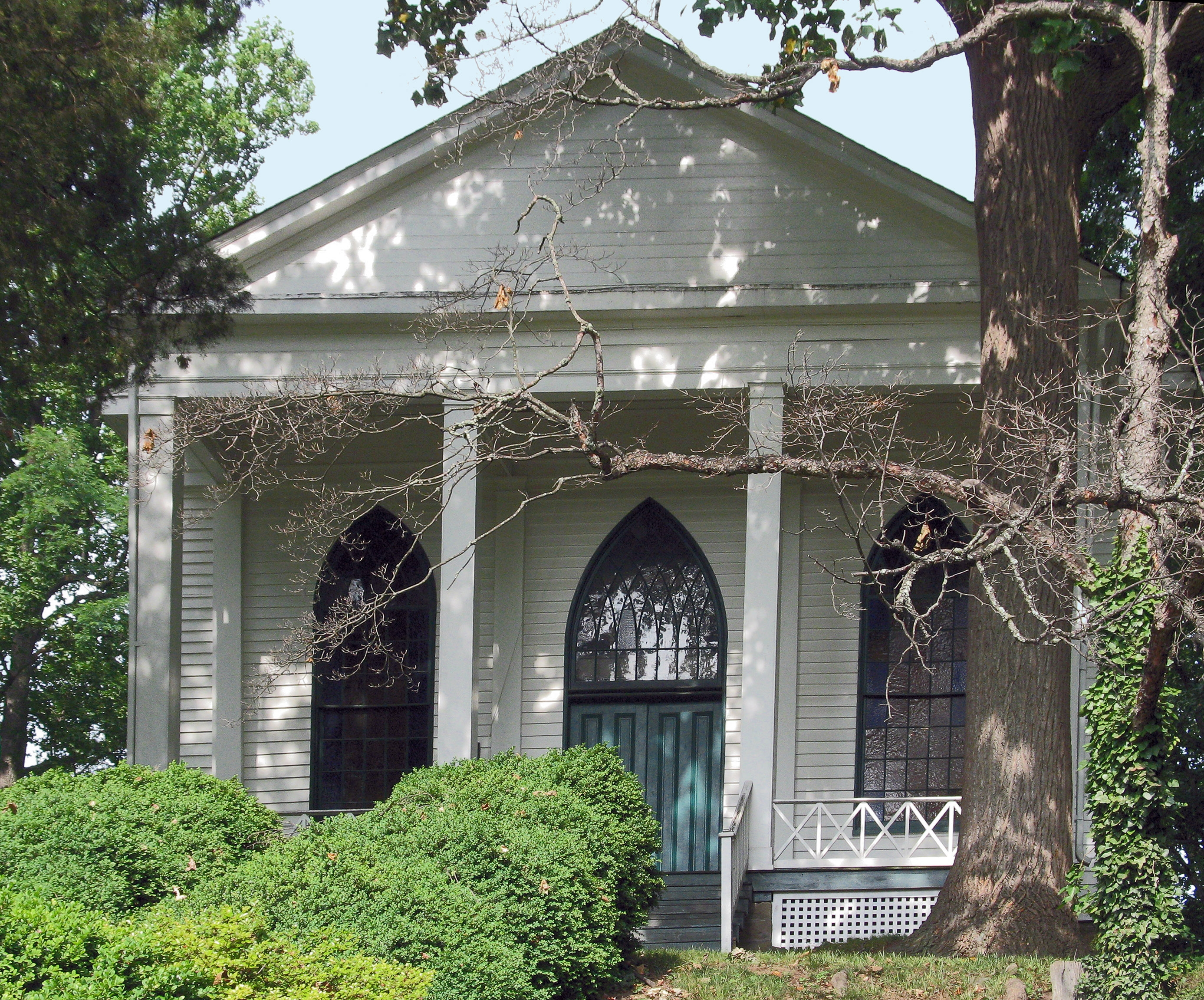 Bethesda Meeting House, front facade, by Allen C. Browne on HMDB.org (reproduced under Fair Use)