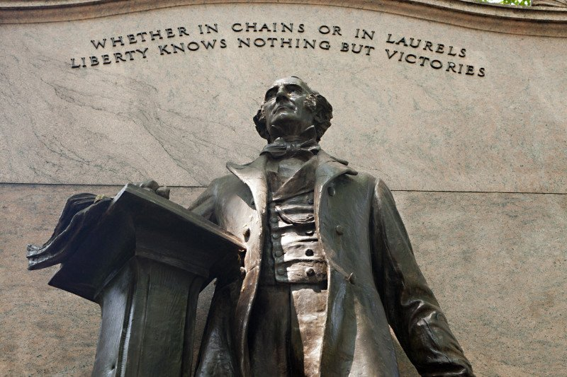 "Inscribed on the statue are his famous words ""Whether in chains or laurels liberty knows nothing but victories""."