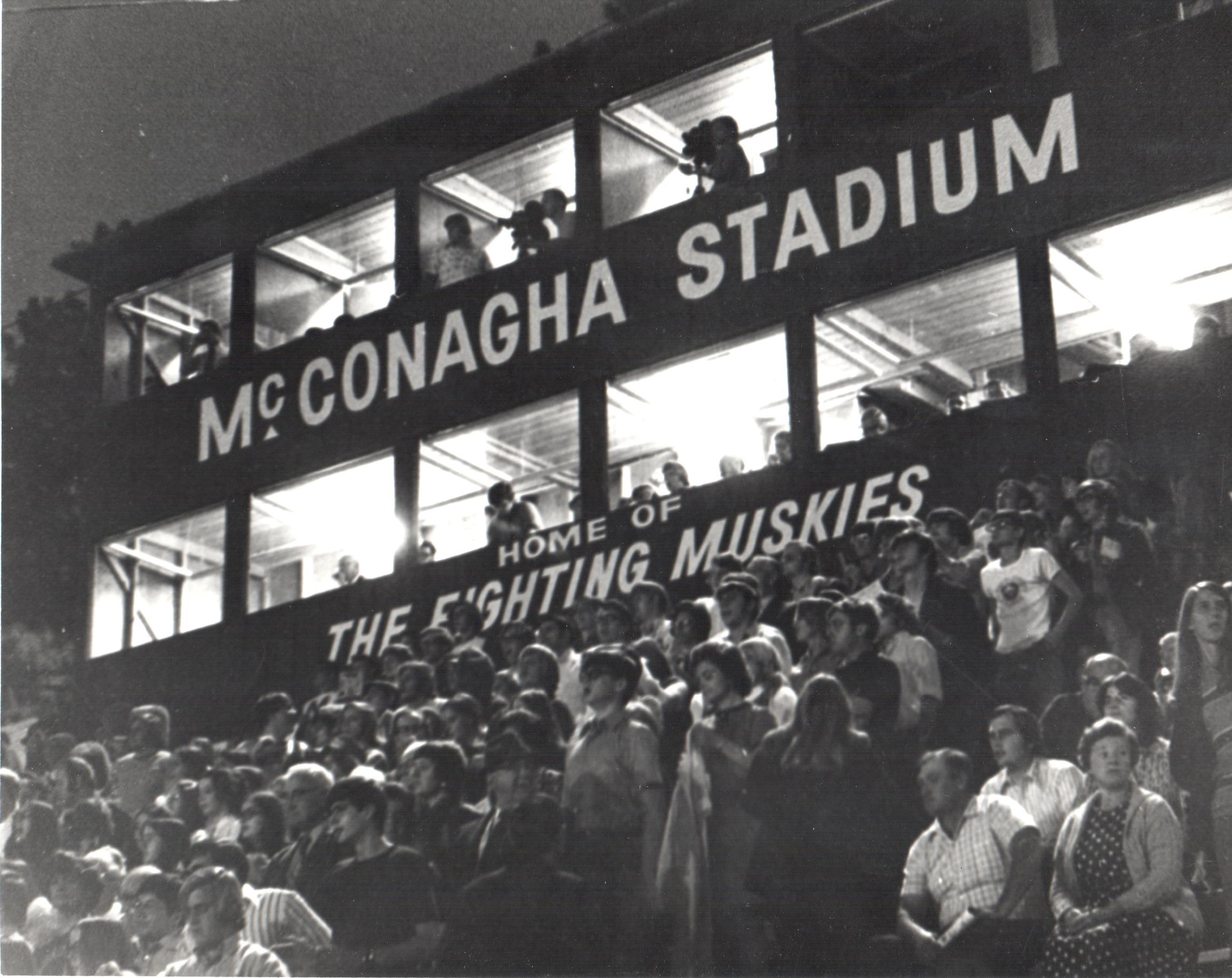 Muskie Fans watching a sporting event at the stadium. Attending sporting events was a way for Muskies to bond as a community, as it still is today.