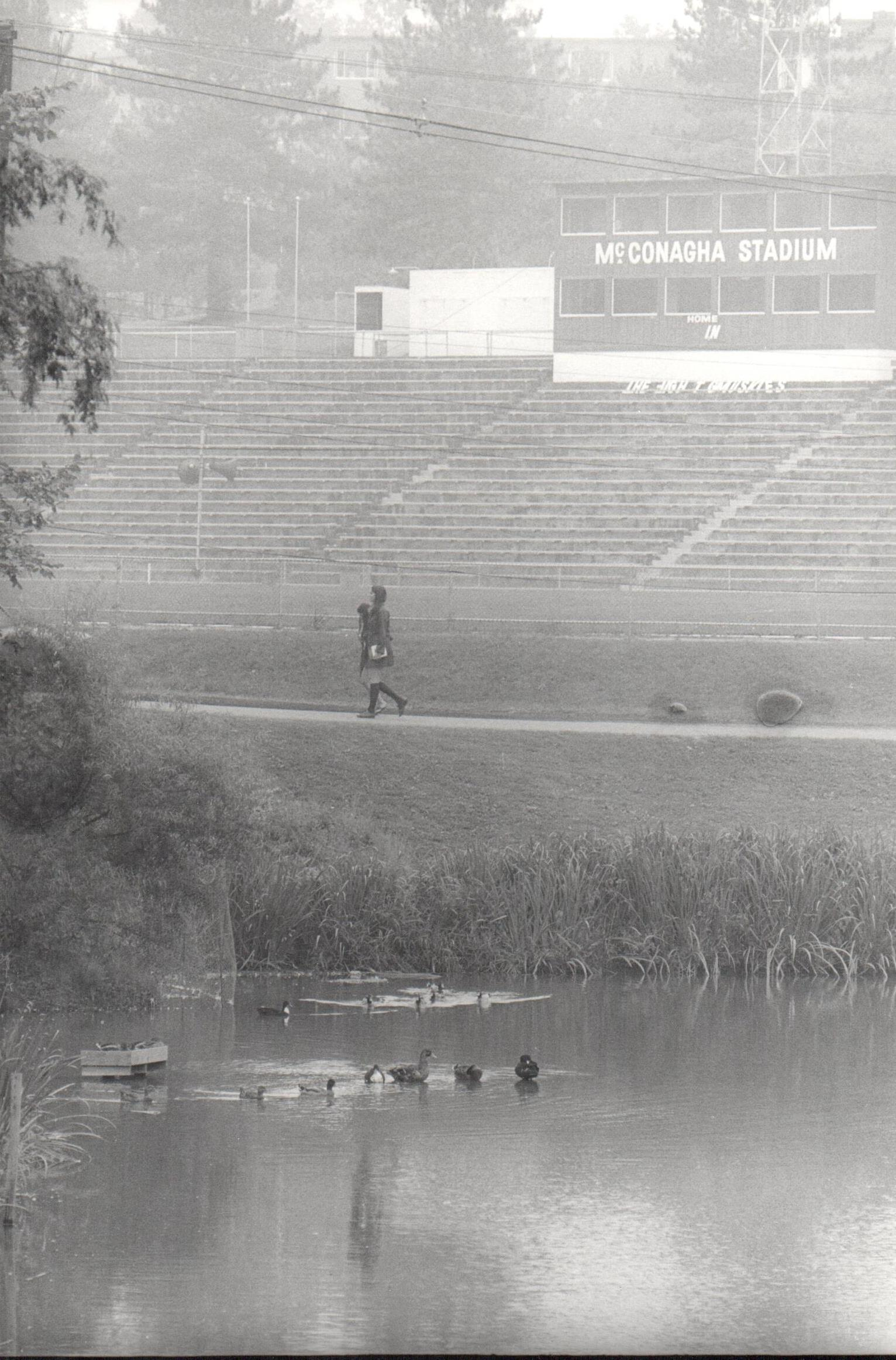 View of the stadium from across the College Lake