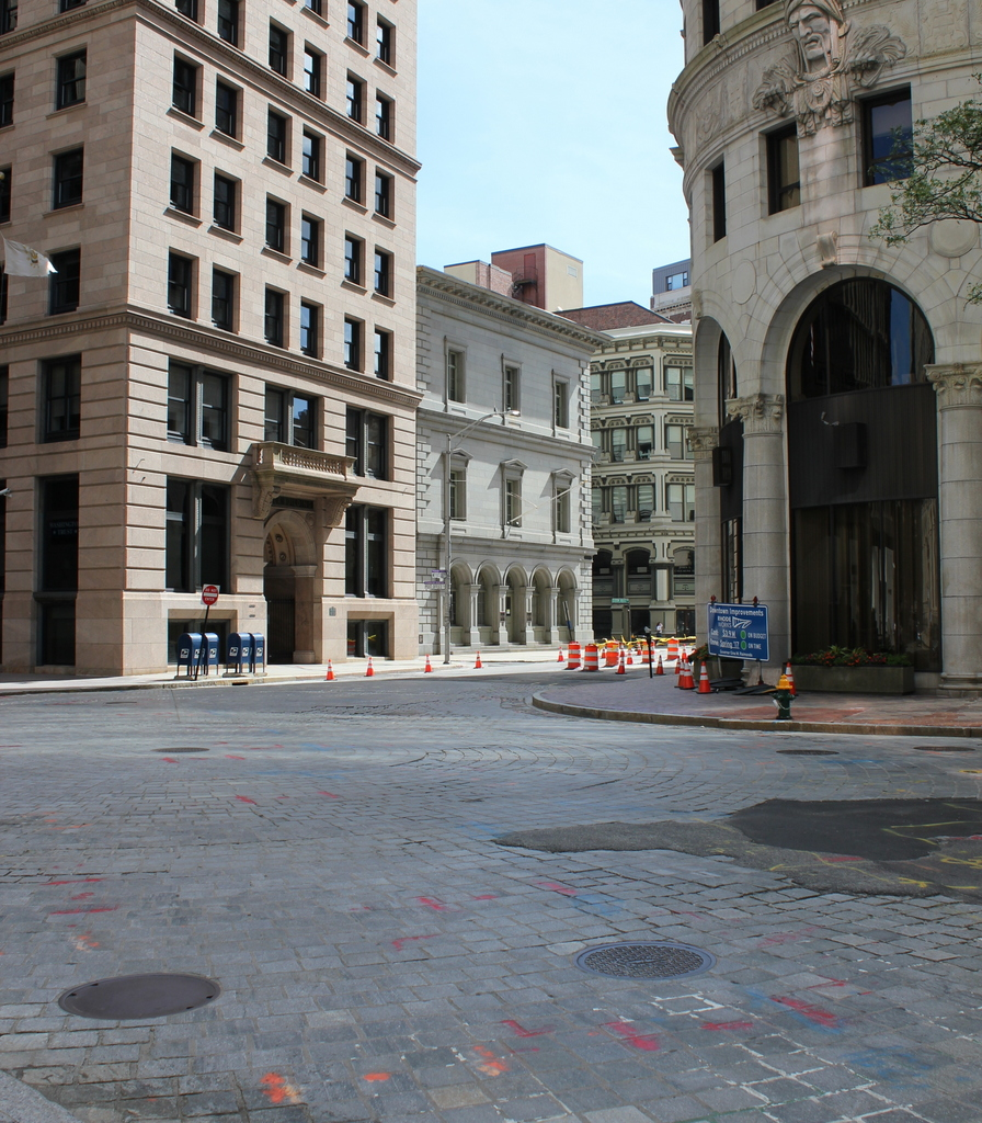 2016 Photo of the U.S. Customshouse, now dwarfed by taller buildings.