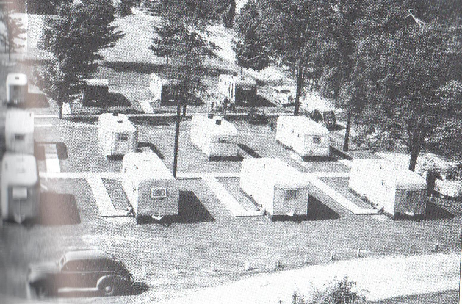 Image of the Trailwood Heights trailer community. The veterans who lived in these trailers often had their children and wives live with them, making the trailers and those who lived in them bond more like a community would.