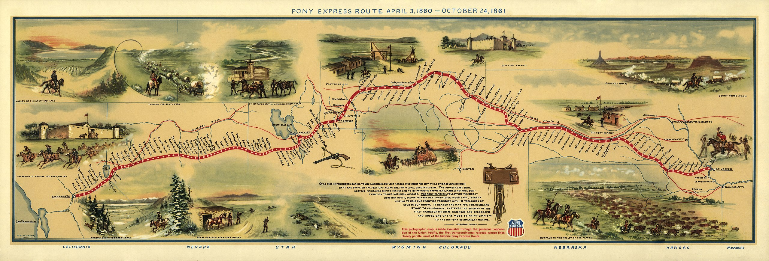 Pony Express Map (1860) by William Henry Jackson