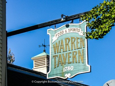 Sign posted outside the Warren Tavern (courtesy of Boston Discovery Guide)
