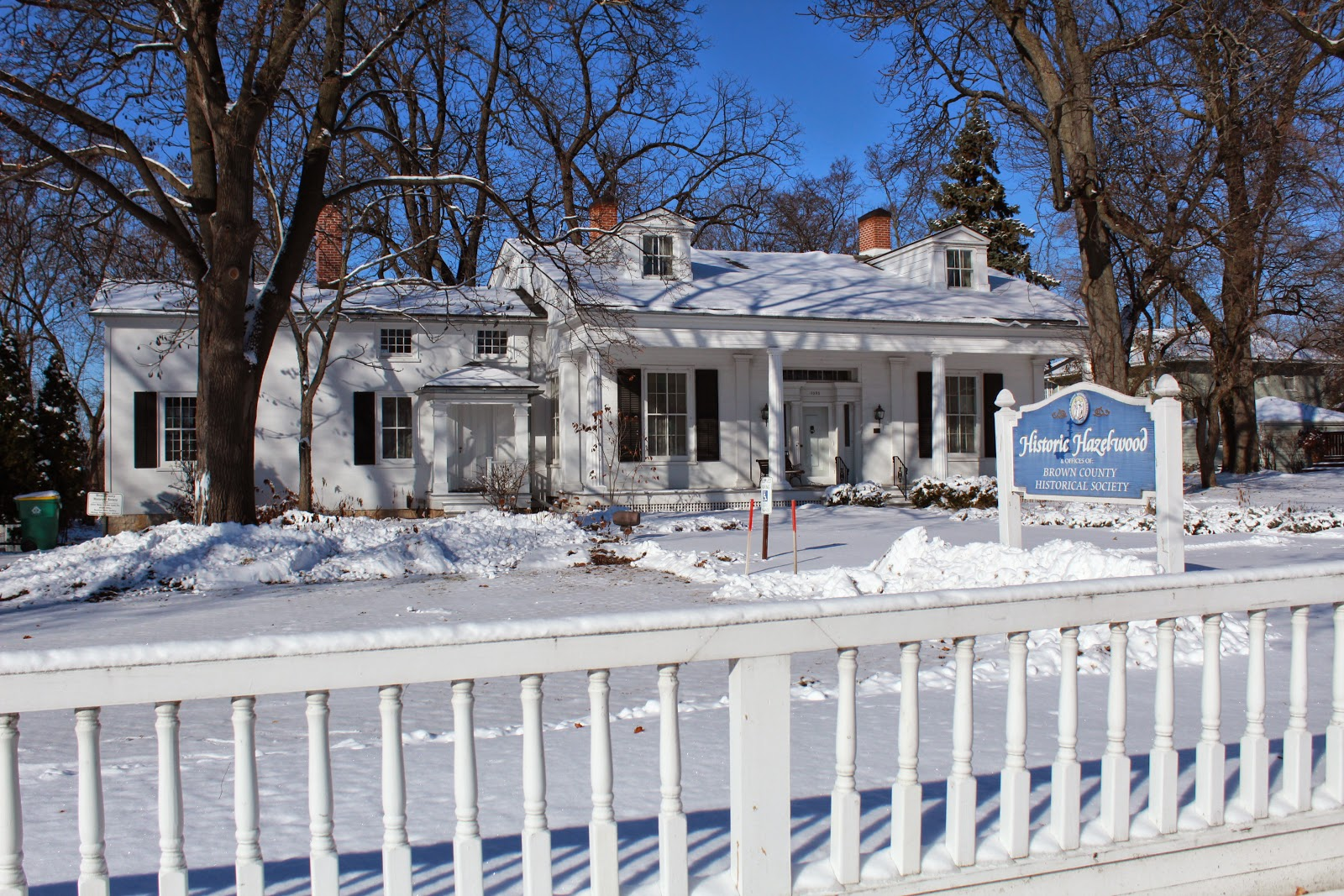 Winter at historic Hazlewood Museum in Green Bay