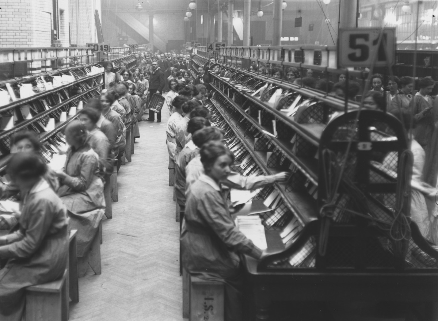 An image dozens of women working in the Post office to keep the United States of America functioning during WW1.