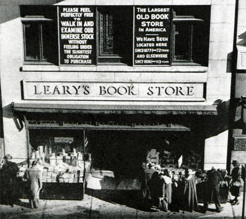 This is the outside of the infamous bookstore. It had three stories and a basement.  https://www.saturdayeveningpost.com/2011/02/late-great-american-bookstores-learys-books/