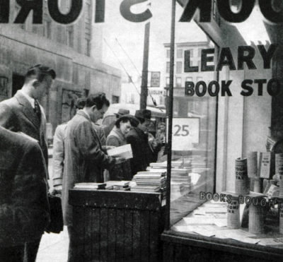 A crowd of consumers standing outside of Leary's Bookstore, probably taken during the Golden Age of Books.  https://www.saturdayeveningpost.com/2011/02/late-great-american-bookstores-learys-books/