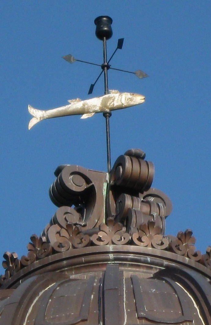 The fish weathervane has been an eccentric staple of both the second and third courthouses. Created out of copper by local Austin Seward in 1884, it stretches 3 feet and 9 inches in length.