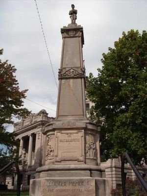 The G.A.R Soldiers of All Wars Memorial was erected in 1928 with panels specifically commemorating the Spanish-American War and World War I. A civil war stands watch on top of the memorial.