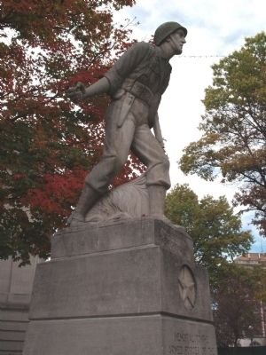 """Standing directly next to the Civil War Memorial is """"The Spirit of the Fighting Yank"""", a World War II memorial in honor of all the U.S. Armed Forces in that war."""