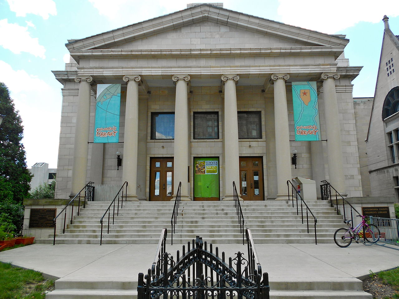 The First Church of Christ, Scientist, now the Lackawanna County Children's Library, was built in 1915 and is a fine example of Classical Revival architecture.