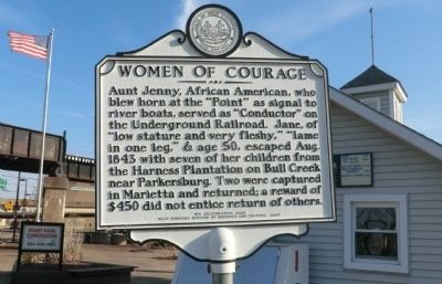 Historical marker commemorating role of Edna Sutton in Underground Railroad in Parkersburg.