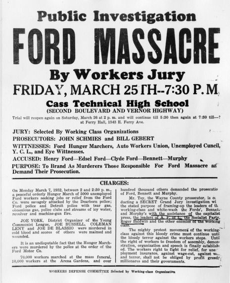Flyer for a public investigation into the Ford Hunger March by workers' jury