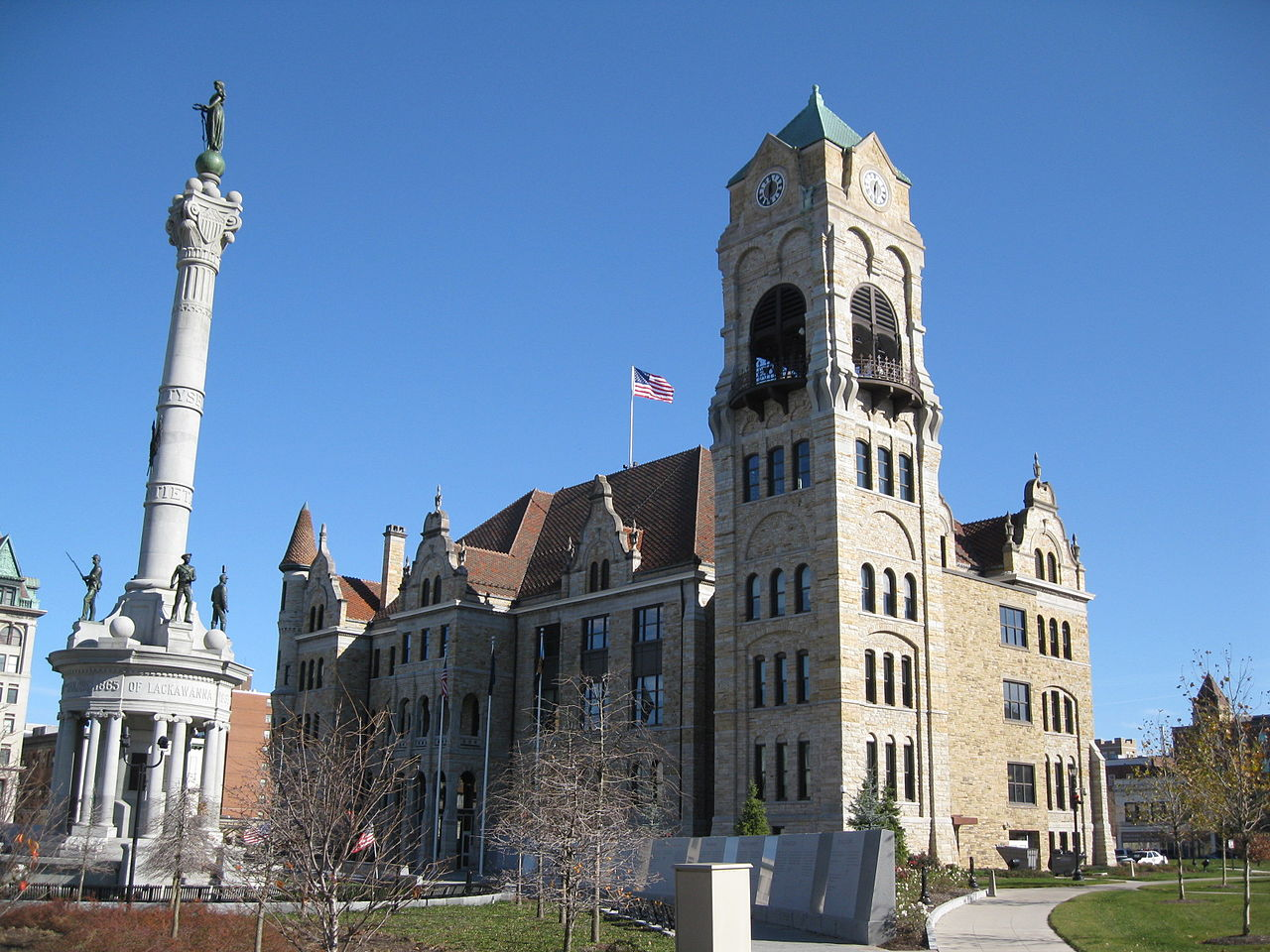 The Lackawanna County Courthouse was built in 1884 and is famous for the site of the first session of the Anthracite Coal Strike Commission, which was the federal's government's first attempt at solving a labor dispute.