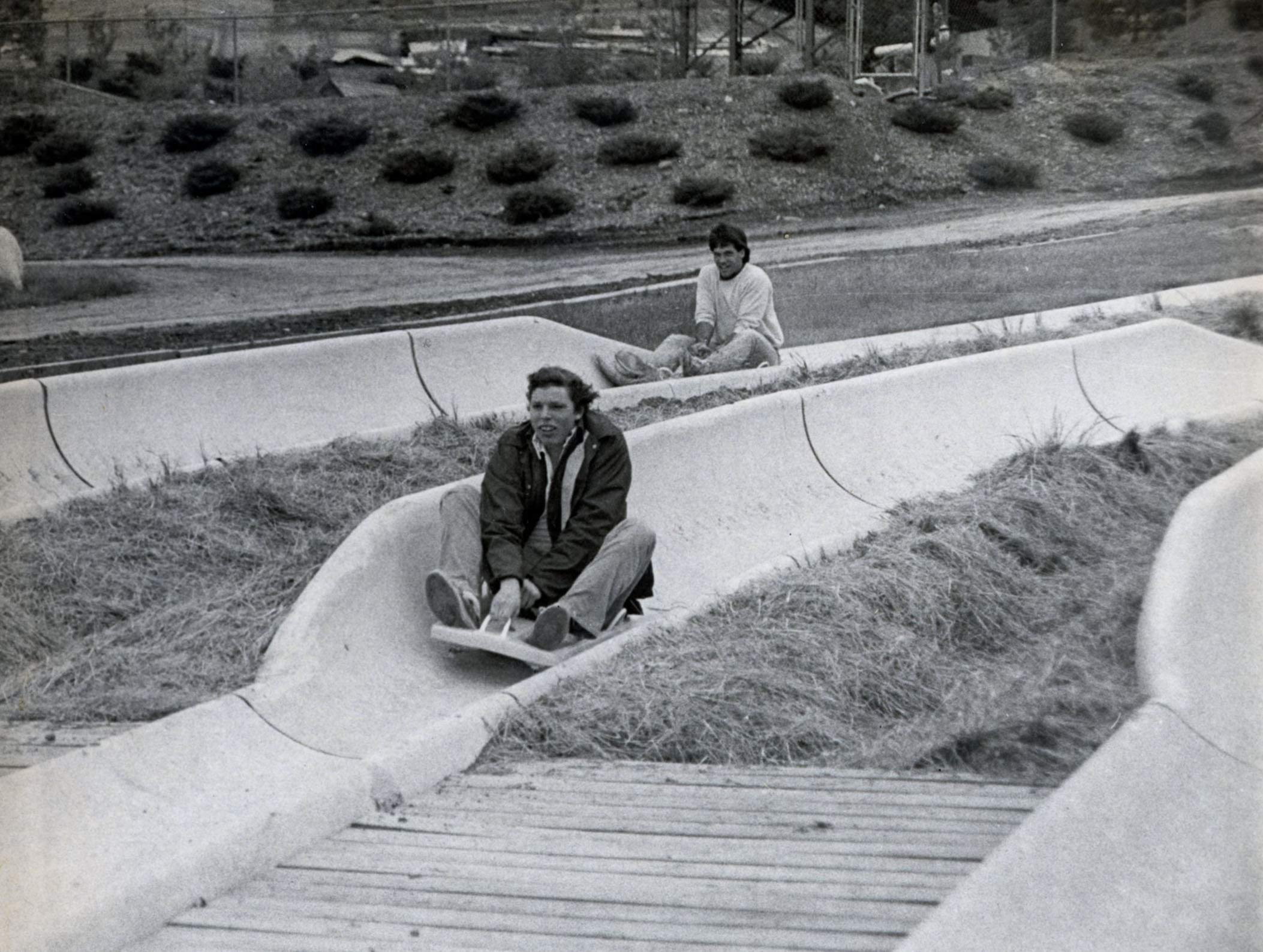 Action Park visitors ride the Alpine Slides in the 1980s