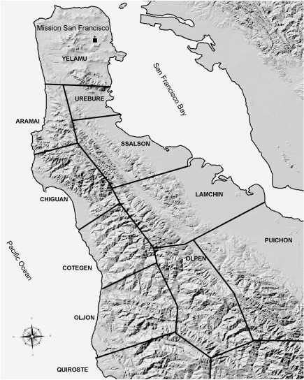 Map of Ohlone Tribal Groups in the Bay Area and San Francisco peninsula