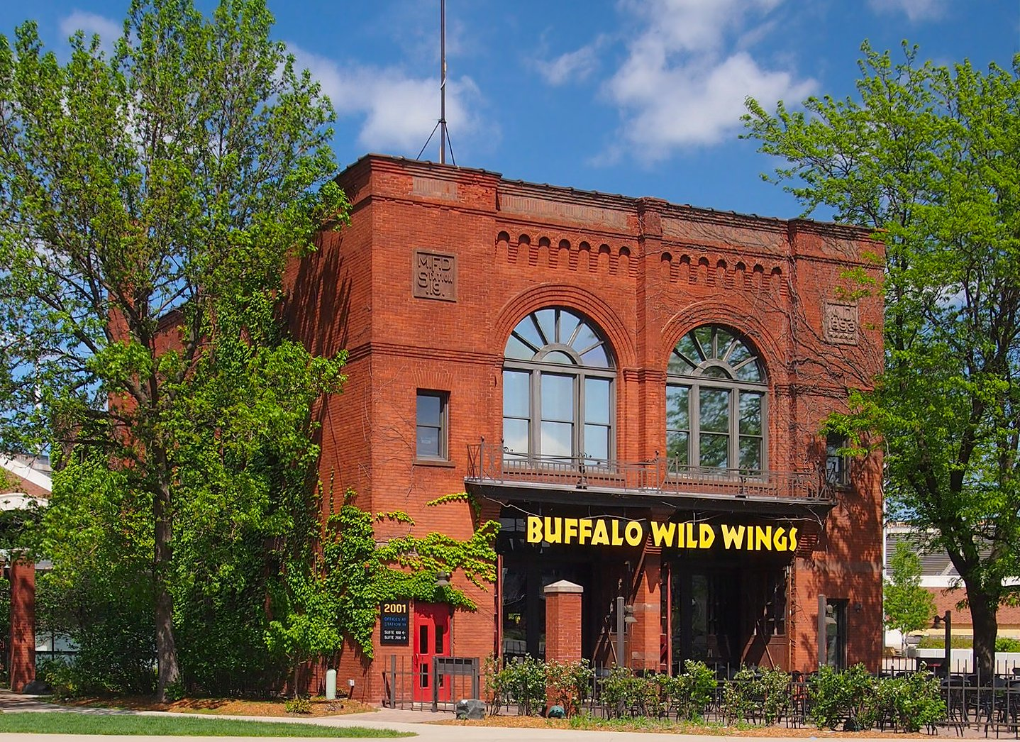 The facade of the old Fire Station No. 19 building, which now houses a Buffalo Wild Wings