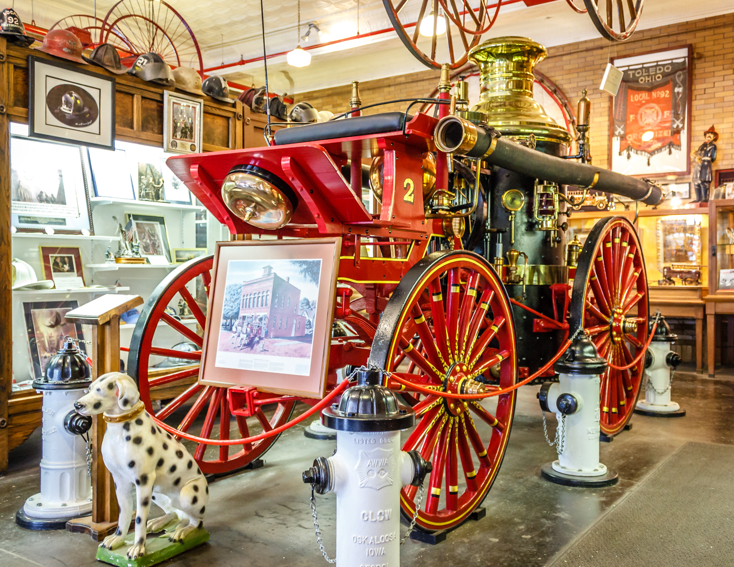 A vintage pumper on display at the museum.