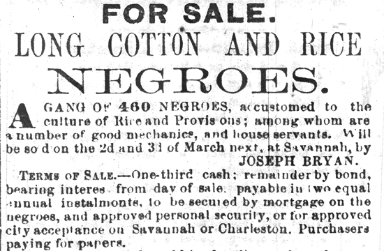 Advertisement ran in The Savannah Republican, Tuesday, February 8, 1859.