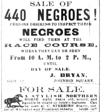 Joseph Bryan's advertisement in The Savannah Daily Morning News, February 26, 1859.