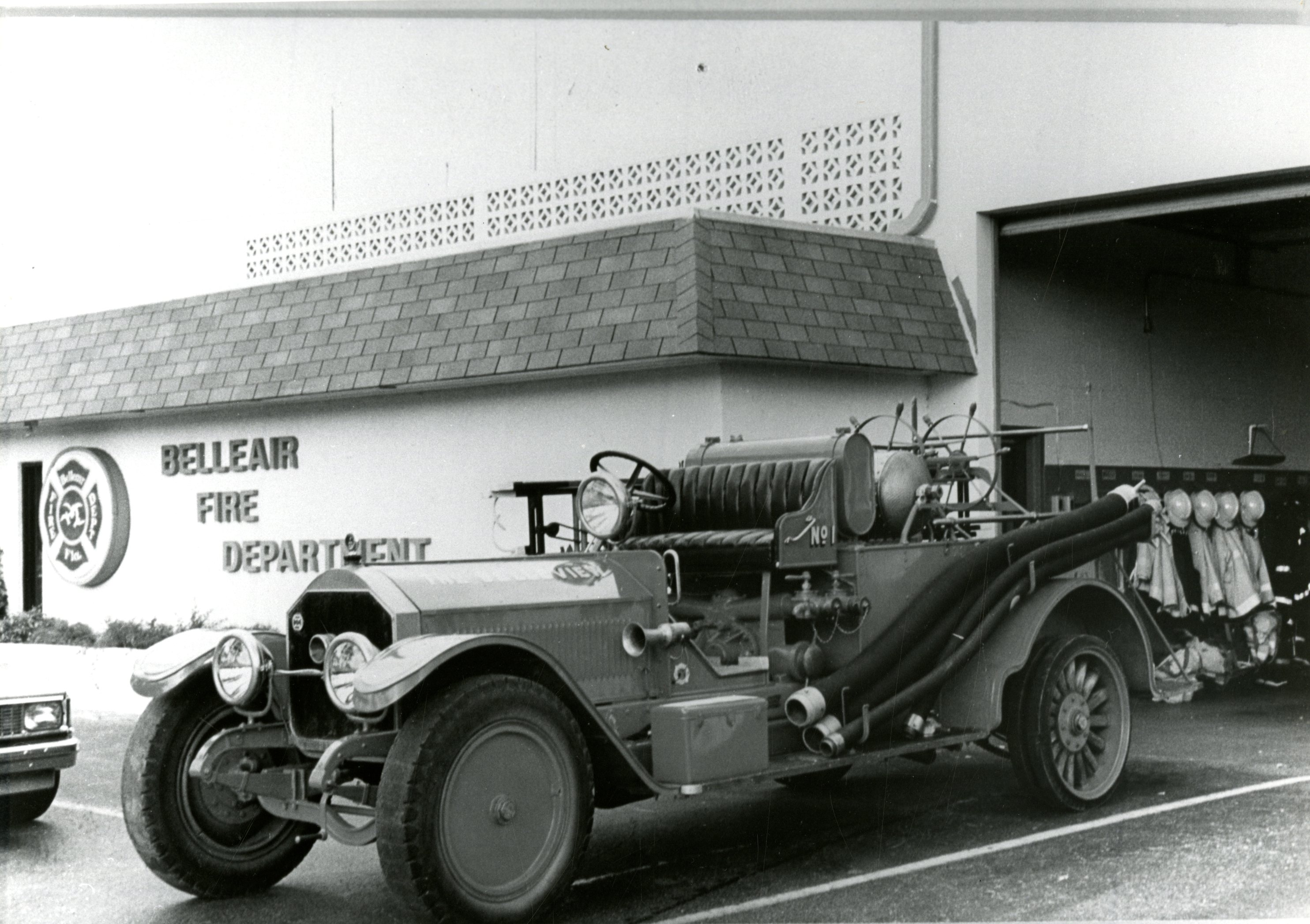 1919 La France fire engine at the Belleair Fire Department, Belleair, Florida, undated. This engine is now at Heritage Village in Largo, Florida.