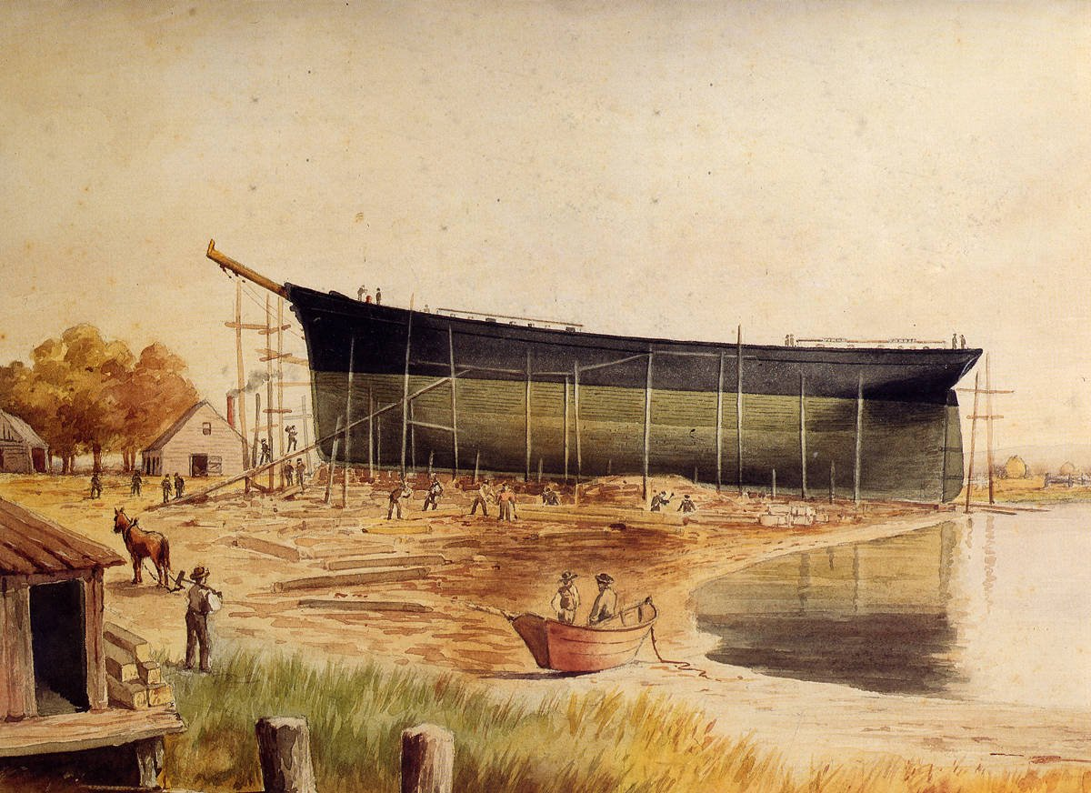 Construction of The Pilgrim, 1873 (image from the Medford Historical Society)