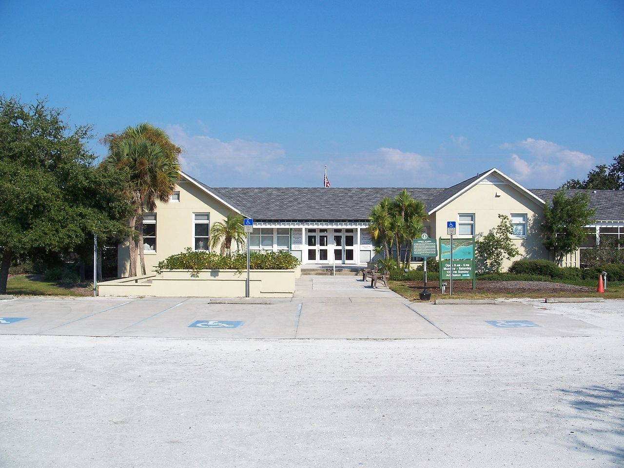 The former Osprey School is now the visitor center and museum of Historic Spanish Point.