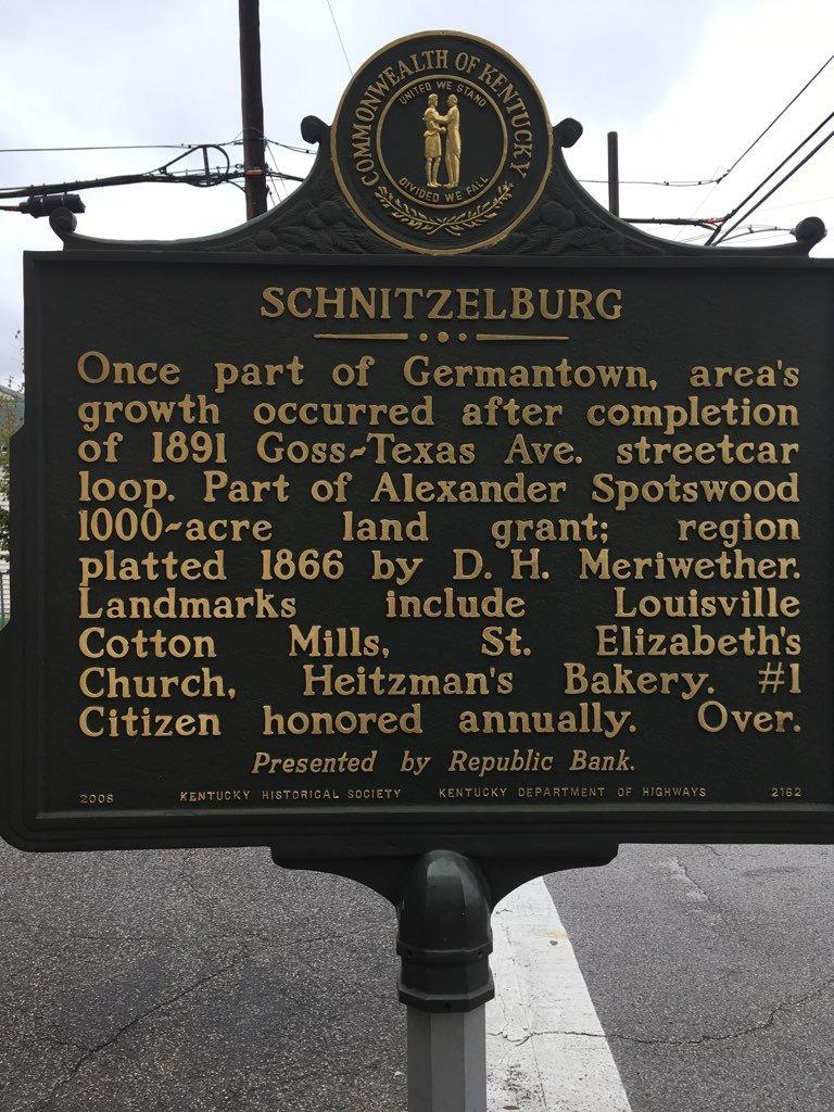 """Schnitzelburg"" historical marker outside Hauck's Handy Store, 1000 Goss Avenue."