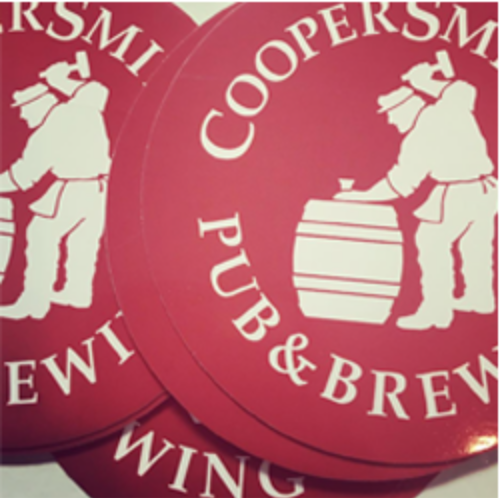 Stickers for advertising from the 1990s. (Courtesy of Coopersmith's Pub and Brewing)