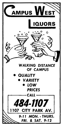 Advertisement for Campus West Liquors circa 1970. http://campuswestliquors.com/about/our-history#rp_timeline