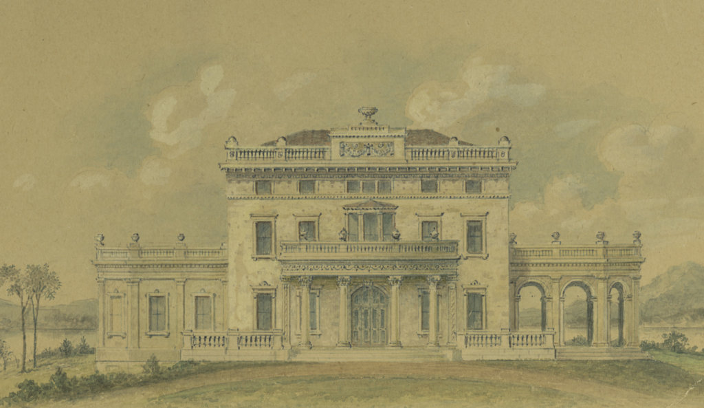 Drawing of Montgomery Place by Architect Alexander Jackson Davis