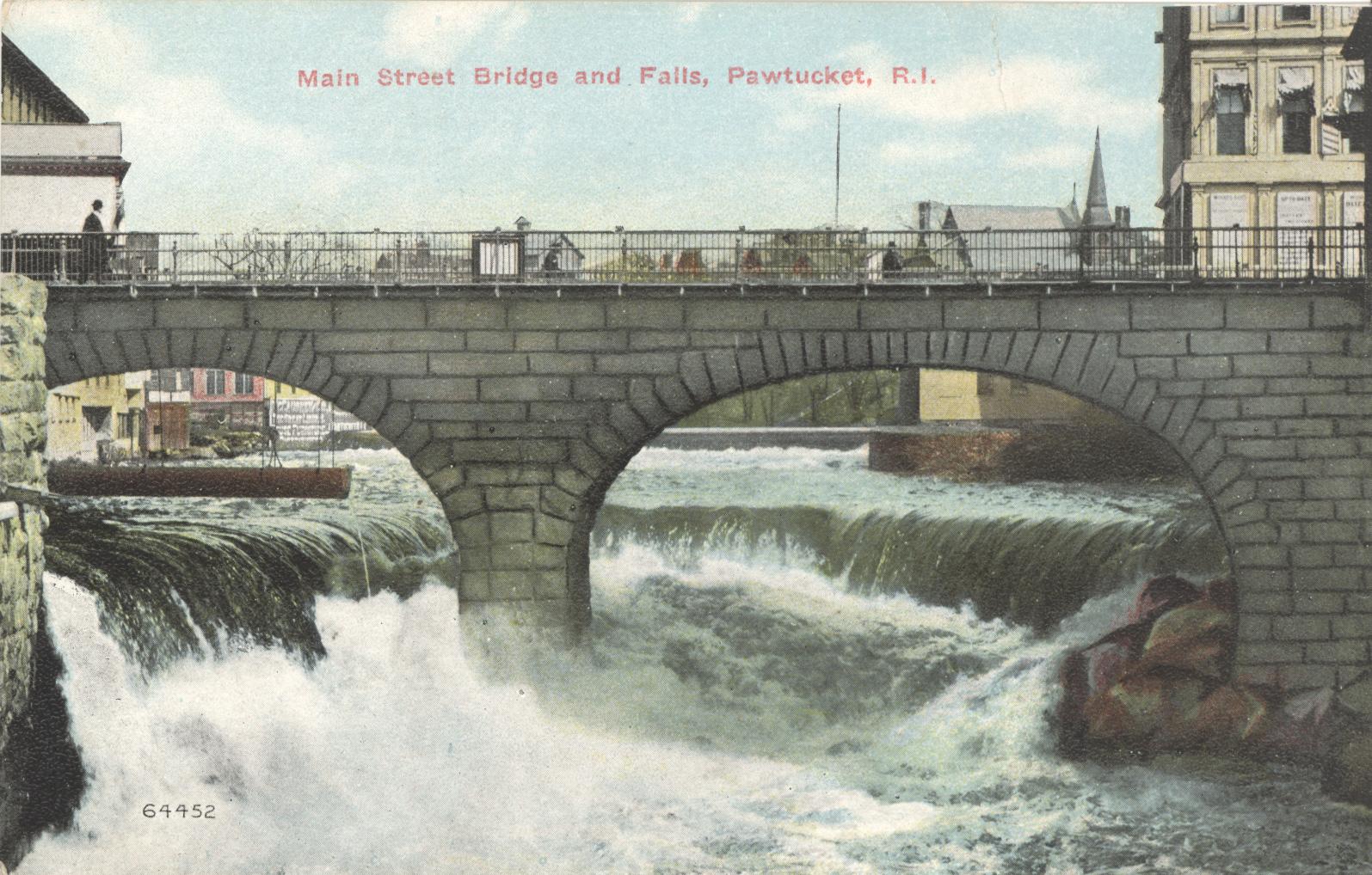 Pawtucket Falls & Main Street Bridge (Postcard)