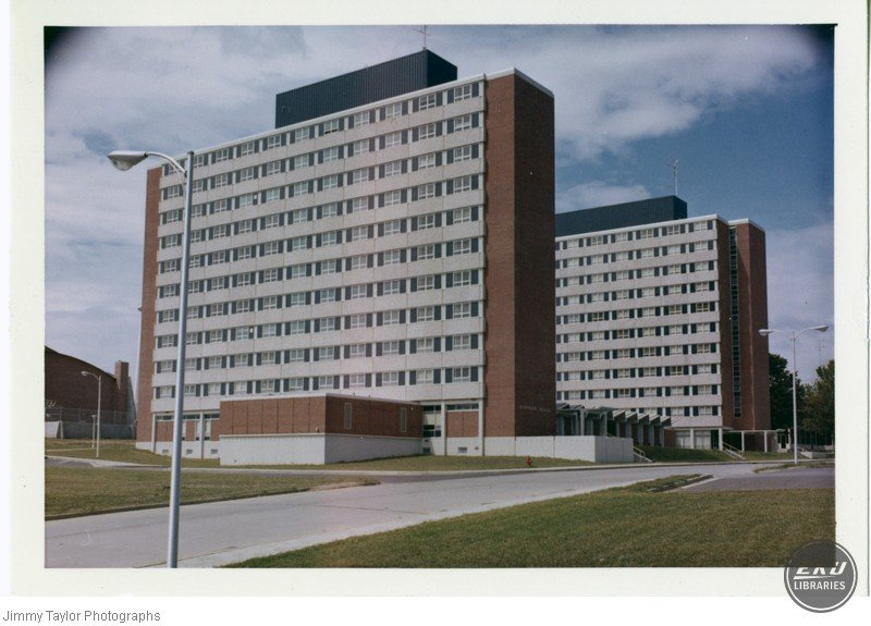 Todd and Dupree Halls shortly after completion. Jimmy Taylor Photographs.