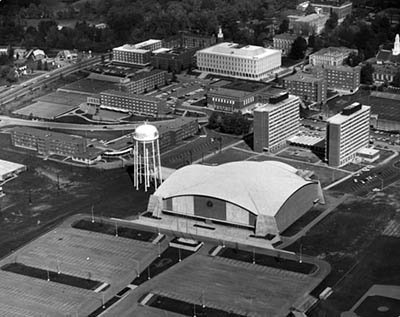 Todd and Dupree from the air, right behind Alumni Coliseum. EKU Photograph Collection.